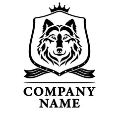 Logo wolf on the shield. Black and White. Vector illustration.
