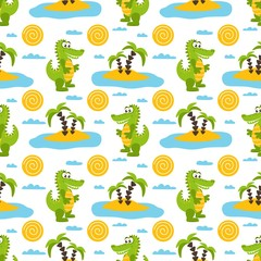 Seamless pattern with cartoon green crocodiles, palm trees, sun, clouds, sea and sand.  Vector illustration on a white background.