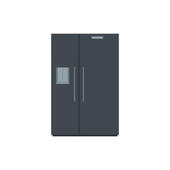Black fridge icon. Flat illustration of black fridge vector icon for web isolated on white