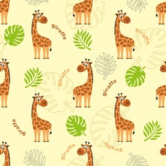 A seamless pattern with a giraffe, palm leaves, tropical leaves and the inscription Giraffe. Cartoon background. Vector illustration.