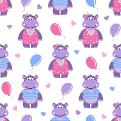 Seamless pattern with hippopotami, hearts and balls. Cartoon background. Vector illustration.