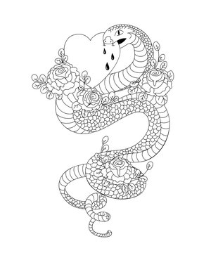 Snake with roses bites heart. Old school tattoo style. Isolated element on white background. Vector illustration