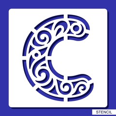 Stencil. Lacy letter C. Template for laser cutting, wood carving, paper cut and printing. Vector illustration.
