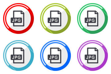 Jpg file glossy vector icon set. Colorful flat design web icons on white background in eps 10.