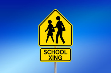 SCHOOL XING Street Sign with Blue Background
