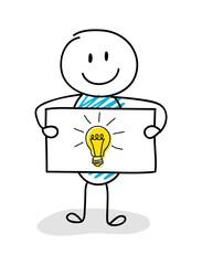 Smiley stickman holding board with bulb (idea symbol) icon. Vector.