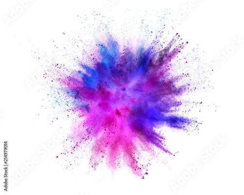 Fototapete Coloured powder explosion isolated on white background