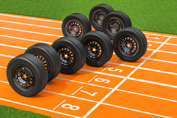 Car wheels on the running track. 3D rendering