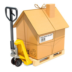 Hydraulic hand pallet truck with cardboard house parcel. Residential Moving concept, 3D rendering