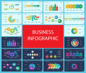 Creative business infographic slide templates set can be used for annual report, web design, workflow layout. Management concept. Option, comparison, donut, area, organizational charts, flowchart