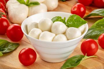Delicious mozzarella and ripe tomatoes