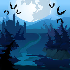The path through the enchanted forest at night. Vector cartoon close-up illustration.