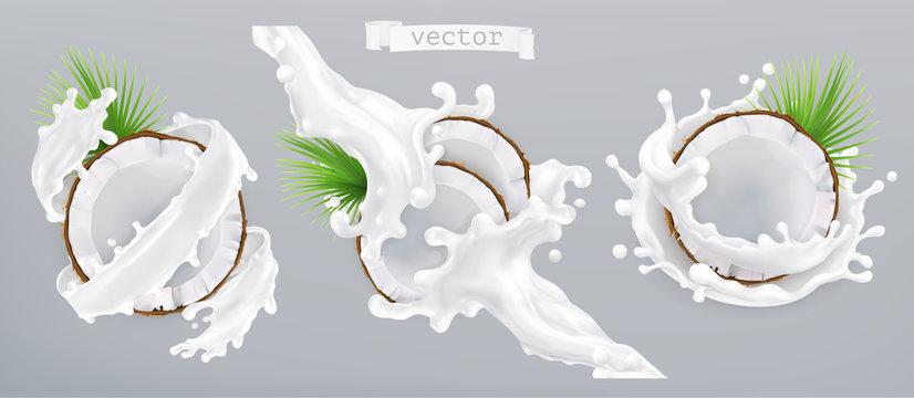 Coconut and milk splash. 3d realistic vector icon