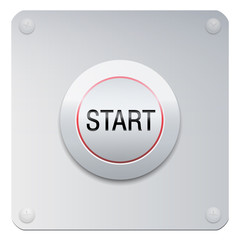 Start button on a chrome panel to start machines, gadgets instruments, but also a new project, adventure, lifestyle, relationship or many other beginnings.