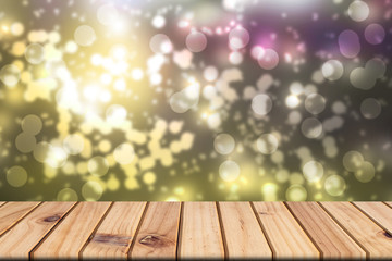 Empty wooden table on front blurred colorful bokeh background, abstract background, presnetation, template