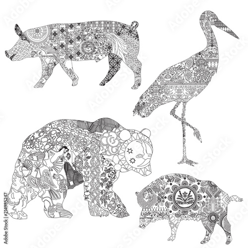 A set of animal symbols of the Slavic countries  Wild boar