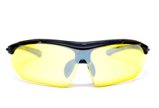 Sports protection glasses with yellow lenses