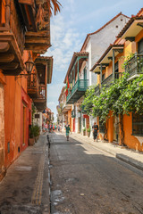 Colorful Colonial Architecture in the Old City, Cartagena, Colombia,