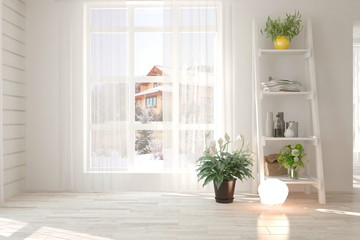 White empty room with home decor and winter landscape in window. Scandinavian interior design. 3D illustration