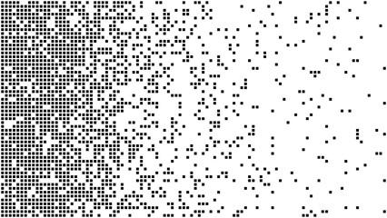 Abstract pixel gradient background. Falling pixels. Broken texture. Abstract vertical gradient halftone. Vector illustration.