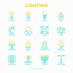 Lighting thin line icons set: bulb, LED, CFL, candle, table lamp, sunlight, spotlight, flash, candelabrum, bonfire, menorah, lighthouse, night aroma lamp. Modern vector illustration.