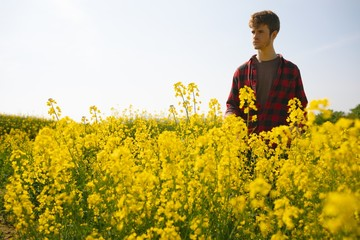 Man standing in the mustard field