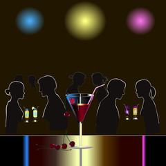 Abstract night club scene with martini glass and couples of people. Vector illustration