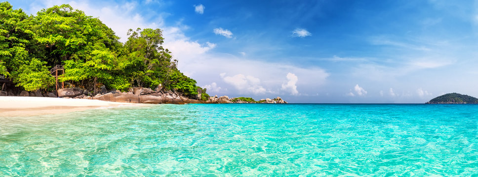 Panorama view of nice tropical beach