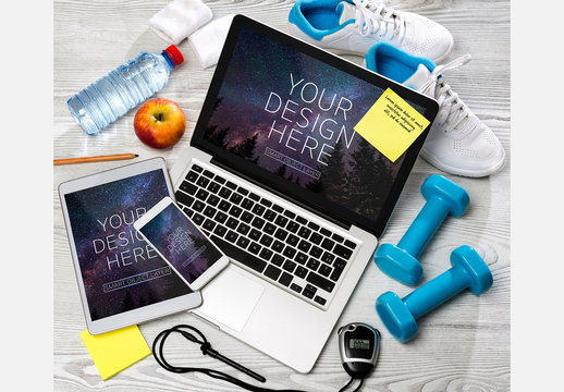 Devices with Gym Equipment Accessories Mockup
