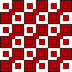 nahtloses Muster aus quadraten in rot, schwarz, weiß. Vektor Datei eps 10