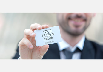 Man Holding Rounded Card Mockup