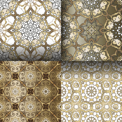 Set of gold floral seamless patterns. Flourish tiled oriental ethnic background. Elegant Decorative ornament for wallpaper, fabric, paper, invitation.