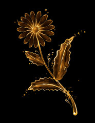 Fototapete - Chamomile flower made of water splashes on black background