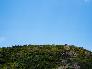 Mountain Summit, Hikers at Top, Blue Sky