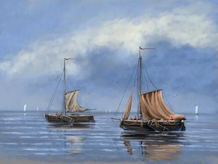 Paintings sea landscape, fisherman, boats, ships. Fine art.