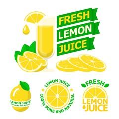 Fresh lemon juice badge emblems