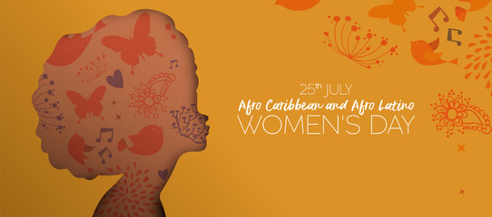 Afro Caribbean and Latino women day cutout banner