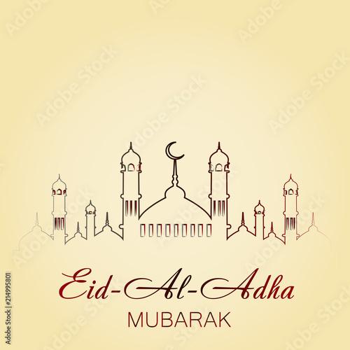 Eid al adha mubarak greeting card with mosque vector stock image eid al adha mubarak greeting card with mosque vector m4hsunfo