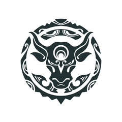 Tattoo of a bull in Polynesian style