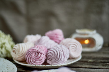 Delicate pastel colors. Tea party in the open air. Ceramics in a rustic style, handmade. Delicate marshmallow pink shades.