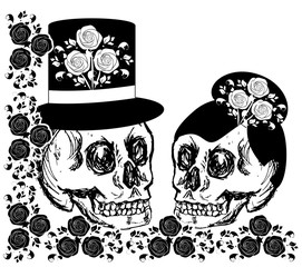 drawings skulls with flowers