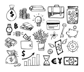 Hand drawn vector illustrations - Save money. Sketch design elements. Finance, payments, banks, cash, four-leaf clover, money box. Perfect for business presentations, web, bunners, advertising