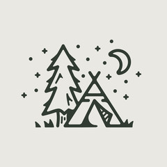 Camp teepee and tree