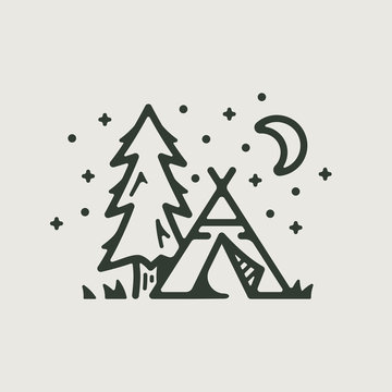 Camp teepee and tree