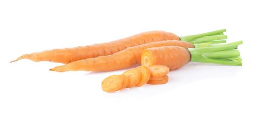 fresh carrots on white background
