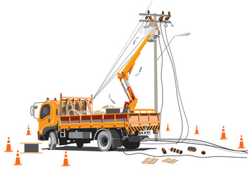 Electricity poles high voltage worker team with lift truck infographic cartoon