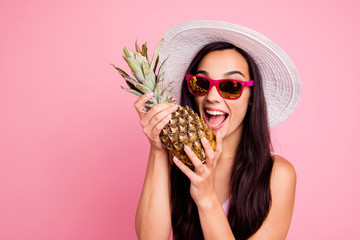 Good mood lifestyle leisure people person concept. Close up studio photo portrait of cool with toothy beaming smile lady holding ananas in hands isolated pastel bright background