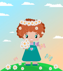 girl on a summer lawn, with red curly hair, in a wreath of daisies, with a bouquet, butterflies in a green meadow against a sky with clouds