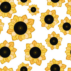 seamless texture with cartoon sunflowers on white background