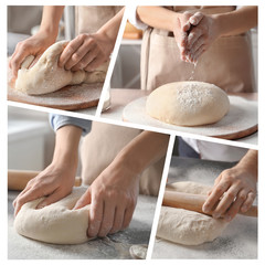 Set with flour and chef kneading dough at table